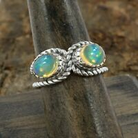 Natural Ethiopian Opal Ring - 925 Sterling Silver Handmade Ring Size 8