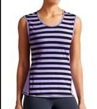 Athleta Ocean Stripe Tank Top  XS Lavender Navy Blue Sleeveless Splice Muscle