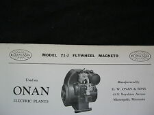 1937 Eisemann 71-J Onan Engine Flywheel Magneto Parts List & Diagram