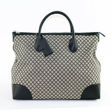 NEW $1695 GUCCI Black DIAMANTE Canvas LEATHER CARRY ALL Large Tote TRAVEL BAG