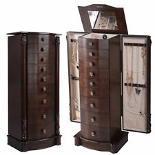 Wood Jewelry Cabinet Armoire Box Storage Chest Stand Organizer Gift NEW