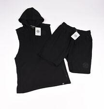 Gymshark Golds Gym Black Workout Gym Set Shorts + Sleeveless Hoodie Size M, NEW