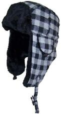 Kids Plaid Russian/Aviator Winter Hat, Snow, Cold, Ski, Outdoor #198 Black/Gray