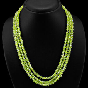 TOP DEMANDED 391.00 CTS NATURAL 3 LINE GREEN PERIDOT FACETED BEADS NECKLACE (DG)