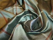 100% SILK DUPION FABRIC  TEAL CHECK 136 CMS. X 19 CMS  REMNANT ONE ONLY!