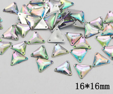 50 x AB Clear Triangle Beads Acrylic Rhinestones/Gems 16mm Flat Back Sew On #7
