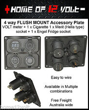 4way 12V Accessory Plate Flush mount 1 VOLT + Cigarette + Merit + Engel socket