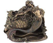 Mermaid & Conch Trinket Box Nautical Statue Sculpture Figure
