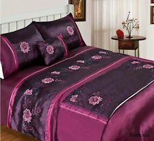 Plum Claret 5 Piece Bed in a Bag Bedding Duvet Quilt Cover, Single or Double