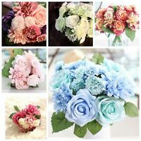 10 Heads Silk Bouquet of Artificial Rose Flower Wedding Bridal Home Party Decor