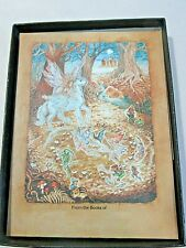 ANTIOCH BOOKPLATE MYSTICAL UNICORN GOLD AND BLUE BROWNS DESIGN 48 STICKERS