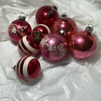 PINK 8 Pc LOT VTG USA Glass CHRISTMAS ORNAMENTS Balls STENCIL Stripe SHINY BRITE