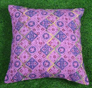Bohemian Dari Cushion Cover Embroidered Decorative Cotton Pillow Purple Throw