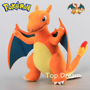 Rare Pokemon CHARIZARD Plush Toy Soft Stuffed Animal Doll 13'' Figure Cool Teddy