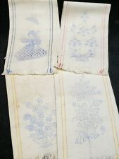 Vintage Tea Towel Stamped for Embroidery Project 1940s Era Estate w Instructions