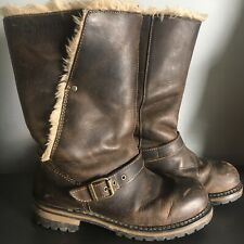 Caterpillar Brown Leather Anna Fur Lined Boots Biker/Aged/Distressed Size 6