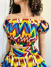 GAIA Woman African Print Off-Shoulder Crop Top 100% Wax Cotton Handmade UK