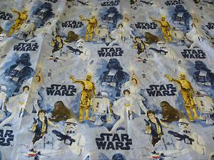 Pottery Barn Kids Star Wars New Hope Twin Flat Sheet Blue C3PO Darth Vader Luke