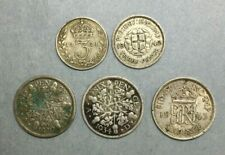 Lot of (5) Early to Mid 20th Century Threepence & Sixpence Silver Coins #BP403