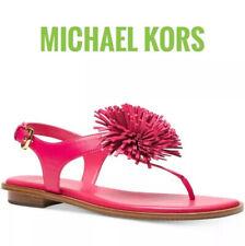 New Michael Kors Pink Leather Lolita Pom Pom Thong Flat Sandal Women's Shoe 9.5