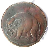 "1694 Elephant London Halfpenny 1/2P with rare ""LON DON"" Legend - PCGS XF Details"