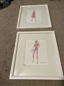"""Pottery Barn Kids Barbie Art MOVIE MIXER  Robert Best Print Framed 17.5""""H x 15.5"""