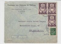 portugal 1950 air mail stamps cover ref 19369