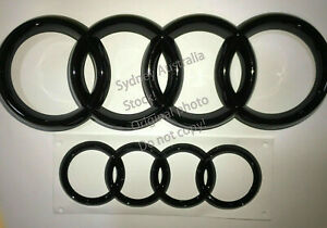Set of Front and Rear Gloss Black Badge RING For Audi A3 A4 A5 S 3 4 5 RS3 RS4 5