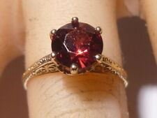 Victorian Filigre10k Gold Garnet Wedding Band Ring Size 4.5