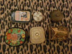 6 decorative boxes, ornaments. Collectable. Pre owned.