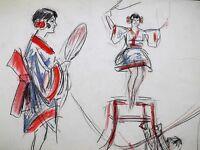 FERNEL Equilibriste Orientale GALA UNION Artistes CIRQUE Dessin Original ca1925