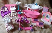 Barbie Doll House Furniture - 15 PIECES  BATHROOM, BIKE, SCOOTER, SINK, PRAM