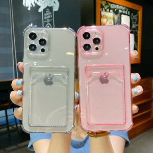 Soft TPU Card Wallet Holder Clear Case Cover For iPhone 12 Pro 11 Pro Max 7 8 XR
