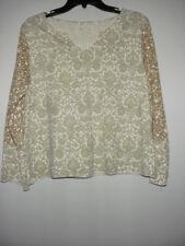 Women's J. JILL 100% Pima Cotton Small V-Neck Long Sleeve Top LP Petite