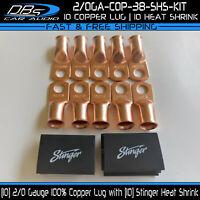 10 2/0 Gauge Copper 3/8 Ring Terminal Lug Battery Connector Stinger Heat Shrink