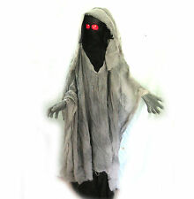 """Animated Hooded Faceless Ghoul Standing Lighted Halloween Haunted House Prop 60"""""""
