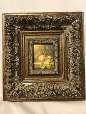 Miniature Fruit Grapes Peach Pear Oil Painting Gold ACEO Framed Board
