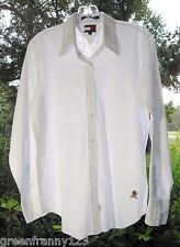 TOMMY HILFIGER Classic Fit Long Sleeve Button Down Shirt White Eyelet Size 8