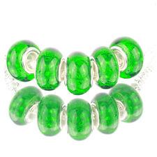 Bling plaid green 5pcs MURANO bead LAMPWORK For European Charm Bracelet