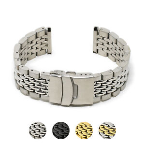 StrapsCo 22mm Stainless Steel Beads of Rice Smart Watch Bracelet Band