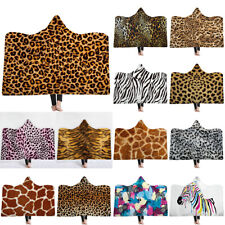 Leopard Print Comfort Plush Hooded Wrap Ultra Soft Wearable Poncho Throw Blanket