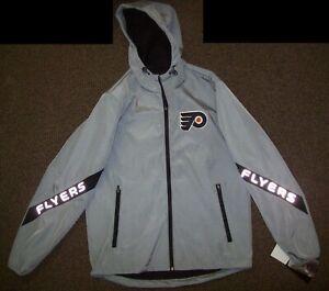 PHILADELPHIA FLYERS Hooded Jacket GRAY with REFLECTIVE SHARK Logos S M L XL 2X