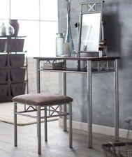 Vanity Mirror Desk Modern Contemporary Metal Cappuccino and Silver Metal