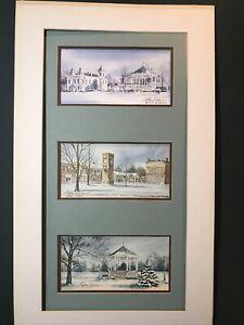 3 Signed Gretchen Bierbaum Miniature Prints Winter Scenes Americana Snow Gazebo