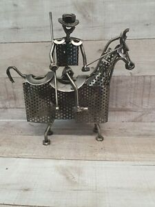 NUTS & BOLTS Horse Sculpture Figure Cowboy Back Metal Steam Punk