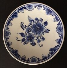 Vintage Delft Blue Hand Painted Flowers  Decorative Wall Plate Holland 5 1/4""