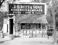 "1938 Grocery Store, Topeka, Kansas Vintage Photograph 8.5"" x 11"" Reprint"