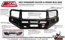 MCC 4X4 FALCON BULL BAR NO FOGS, TOYOTA HILUX 1997 - 2004, ADR, AIRBAG, STEEL