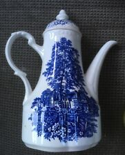 J & G Meakin-Romantic England Blue- Stokesay Castle- Coffee Pot with Lid