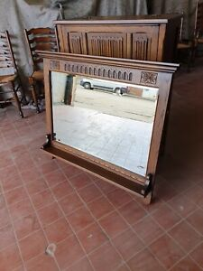 OLD CHARM FURNITURE OAK MANTLE MIRROR / WALL MIRROR WITH SHELF MODEL No 2372